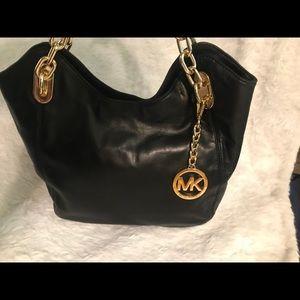 Black leather MK purse